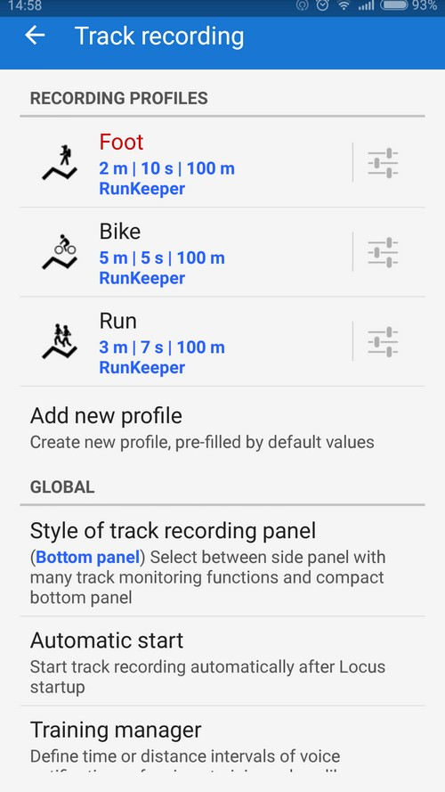 settings of tracking profiles