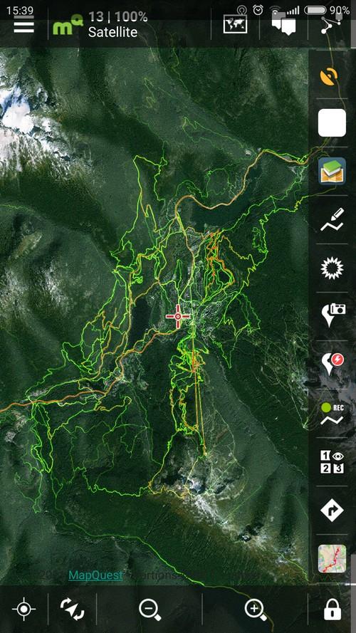 Strava biking heatmap of  Canadian Whistler MTB resort in Locus Map