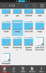 Copy Locus folder to the internal storage