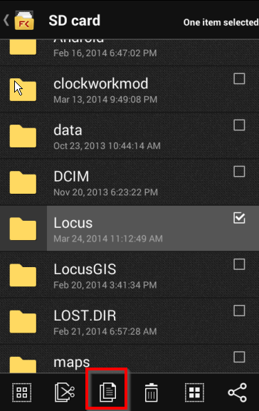 Locus folder from Sd card