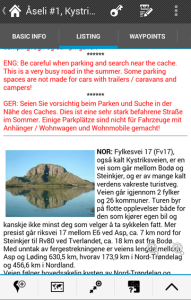 Geocaching listing with images