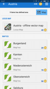 Tap the Map button to display available maps