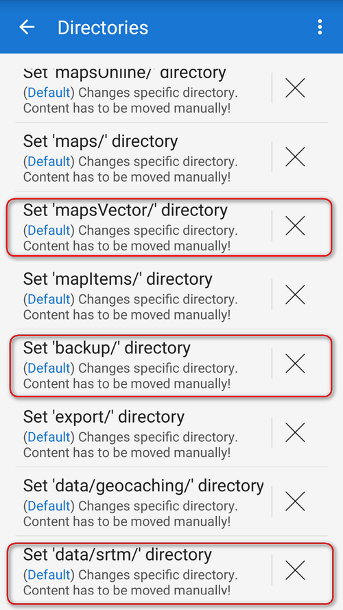 Menu > Settings > Miscellaneous > Default directories