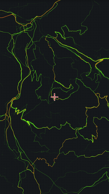 Strava heatmap bez podkladové mapy