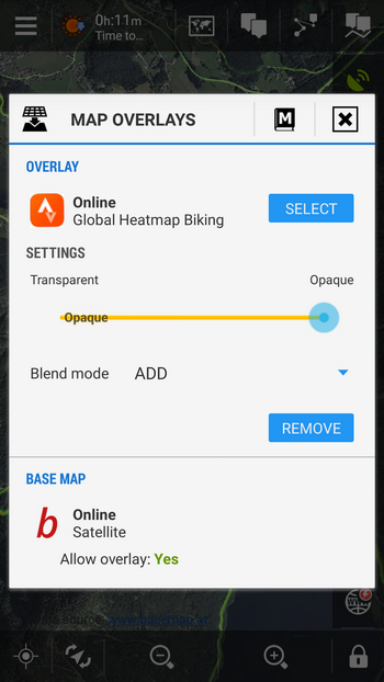 settings on the map overlay