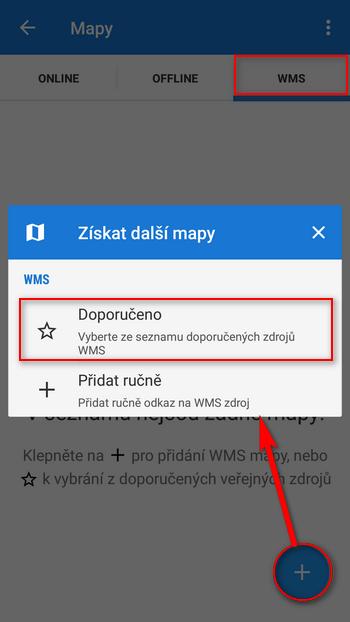 Volba doporučených WMS kanálů
