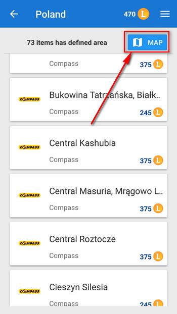 V rohu seznamu map Compass v Locus Obchodě můžete zobrazit přehledovou mapku.