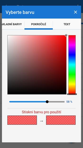 pokročilý výběr barev