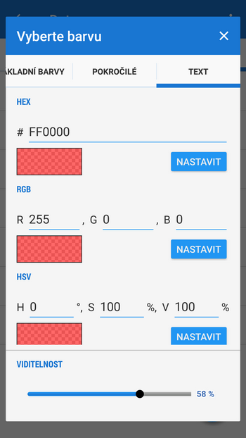 Výběr barev pomocí kódů
