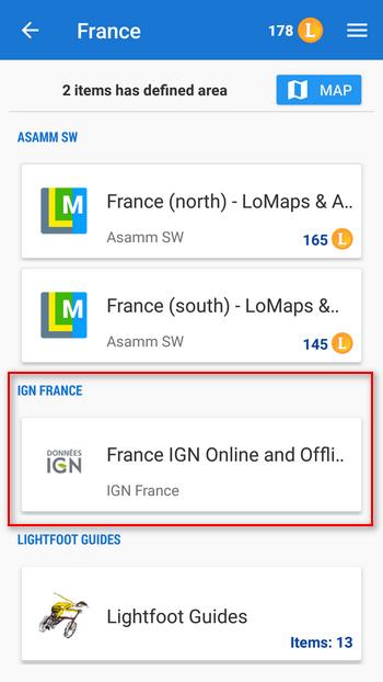 IGN maps in Locus Store