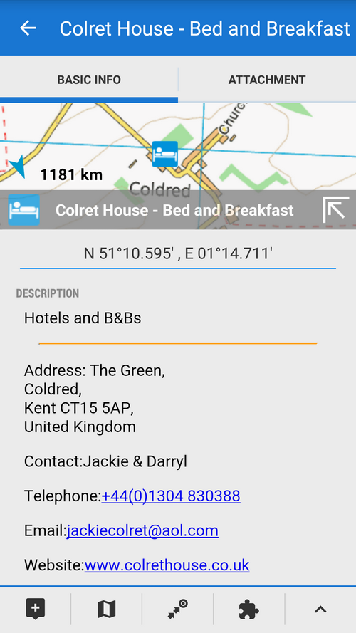 All points with tips for accommodation, eating or other services are well equipped with up-to-date contacts