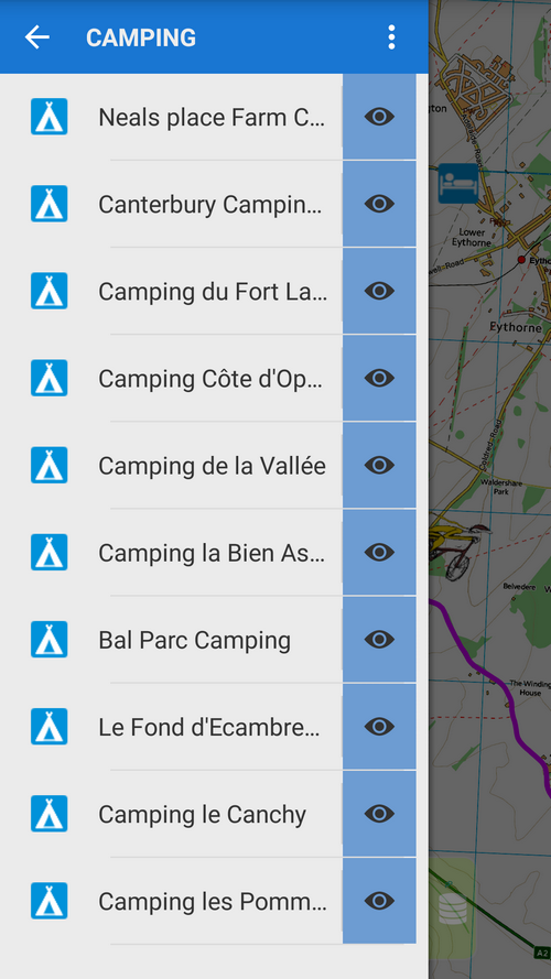 List of camping facilities along the first stretch