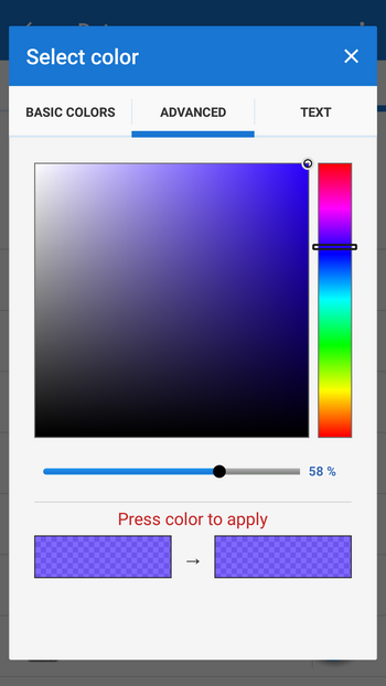advanced color selection