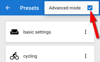 advanced mode of presets