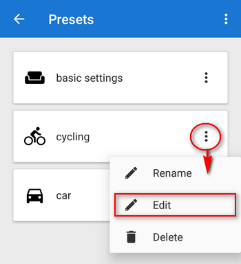 editing of presets settings
