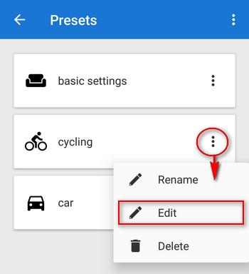 editing of presets settings