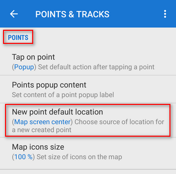 new point default location settings