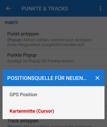select default location of a new point