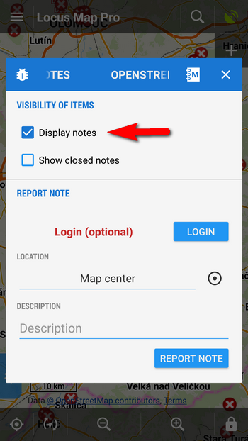 Turn OSM Notes display on