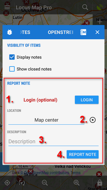 Add a new OSM Note
